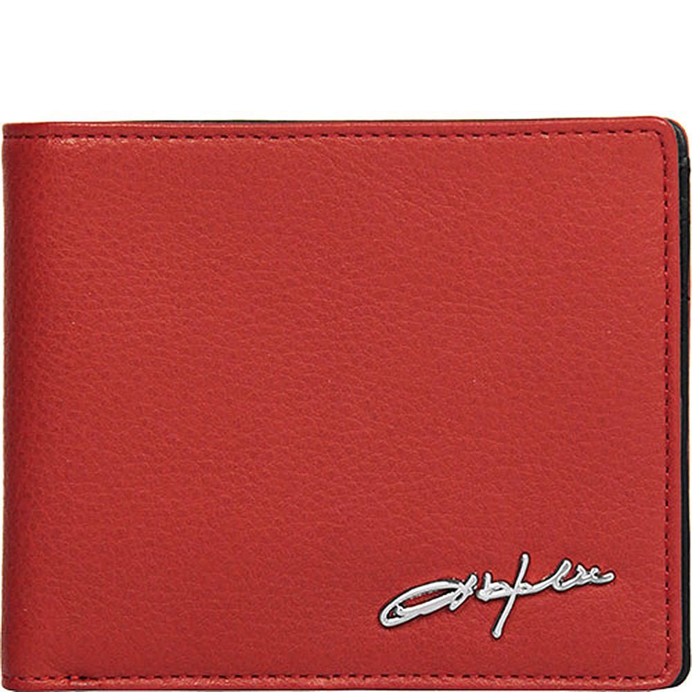 OBHOLIC 紅色義大利牛皮短夾錢包皮夾 OBMWM09202-33-F