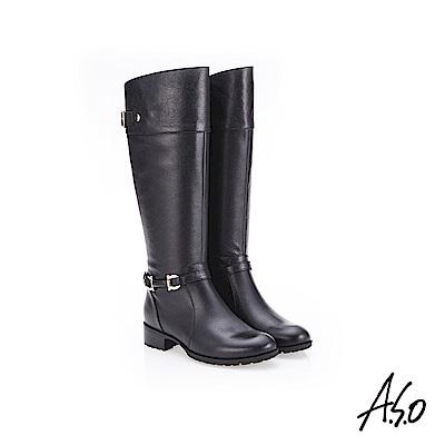 A.S.O 簡約飾釦 側拉鍊設計真皮長靴 黑