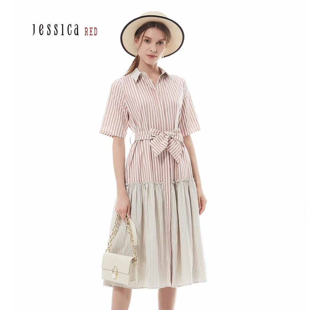 JESSICA RED - 粉色條紋拼接襯衫款休閒短袖洋裝