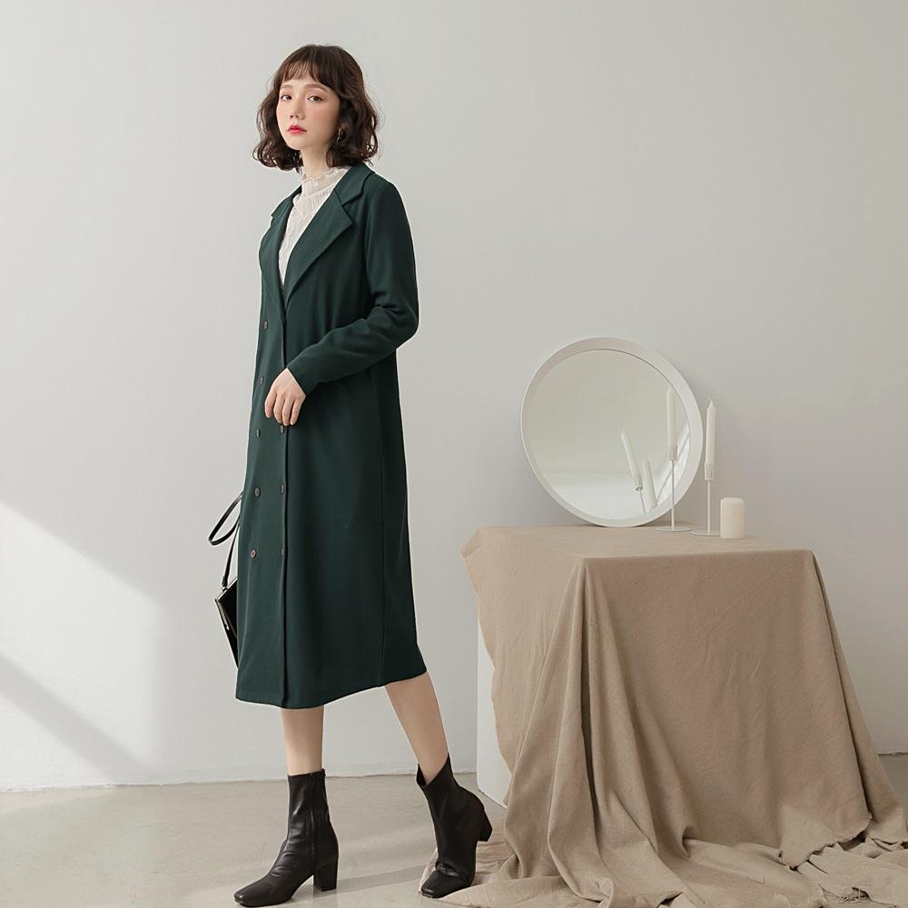 純色質感翻領大衣/罩衫-OB大尺碼