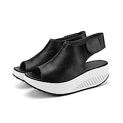韓國KW美鞋館 真皮美體勁透塑身系列健走涼鞋-黑色