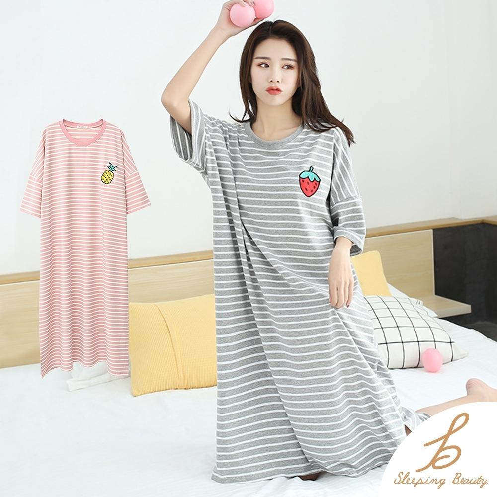 Sleeping Beauty 大碼寬鬆柔軟條紋居家裙-兩色可選