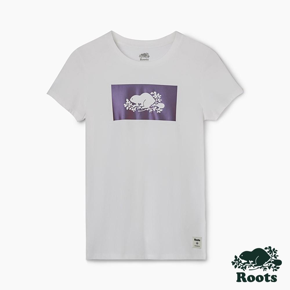 女裝Roots 夏日極光變色logo短袖T恤-白色