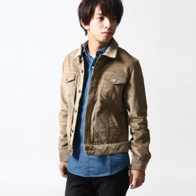 復古燈芯絨夾克素色牛仔外套(1色) ZIP日本男裝