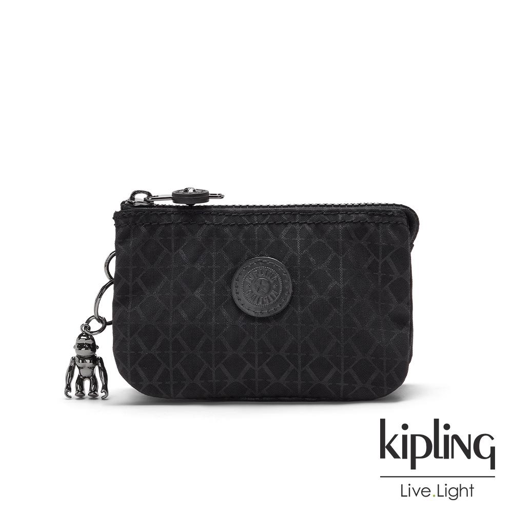 Kipling 經典黑菱格紋印花三夾層配件包-CREATIVITY S
