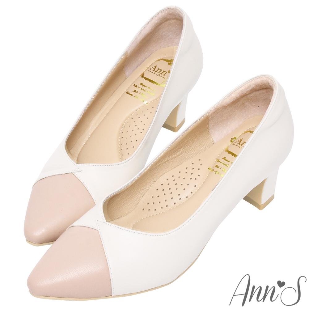 Ann'S此生最好穿-V口雙色拼接版本小羊皮備受呵護跟鞋-粉米白(版型偏大)
