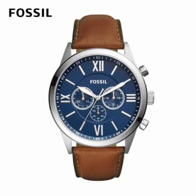 FOSSIL Flynn 經典雅仕羅馬數字三眼手錶 棕色真皮皮革錶帶 48MM BQ2125