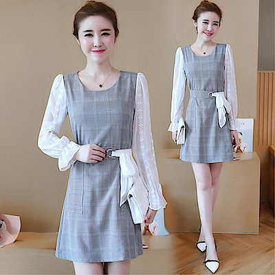 DABI韓版氣質修身顯瘦氣質拼接OL時尚長袖洋裝
