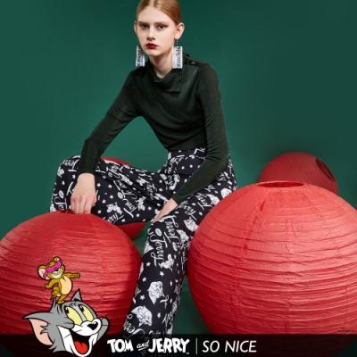 SO NICE│Tom&Jerry撞色滿版印花寬褲