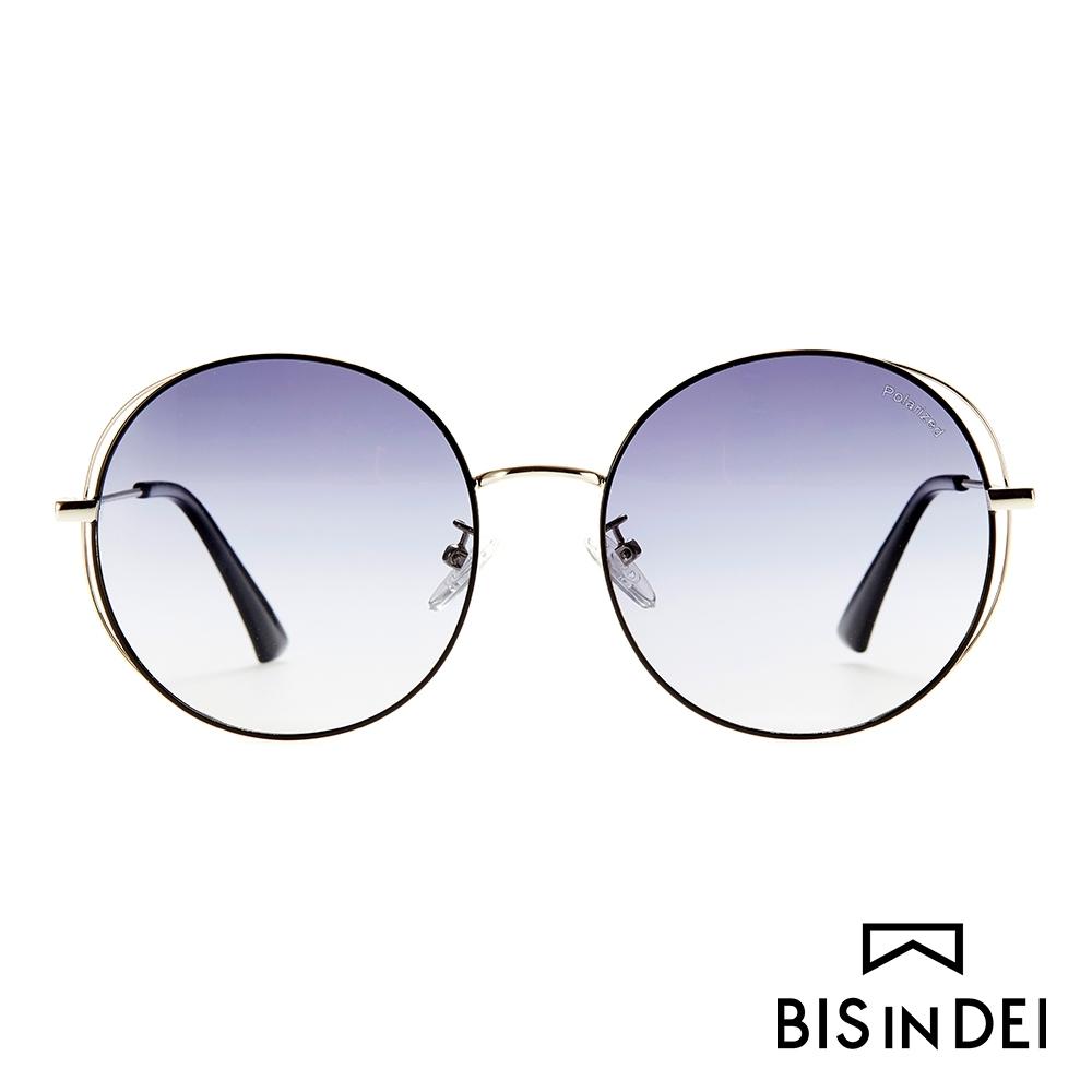 BIS IN DEI 幾何線條圓框太陽眼鏡-黑