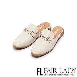 Fair Lady Hi Spring 金屬馬銜釦方頭樂福穆勒鞋 白