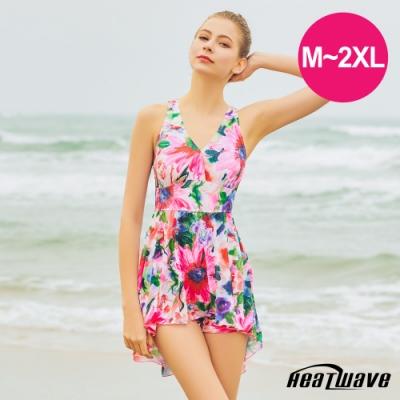 Heatwave熱浪 加大泳裝 萊克連身裙-花宴紅(M-2XL)