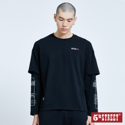 5th STREET 假兩件袖印花 長袖T恤-男-黑色