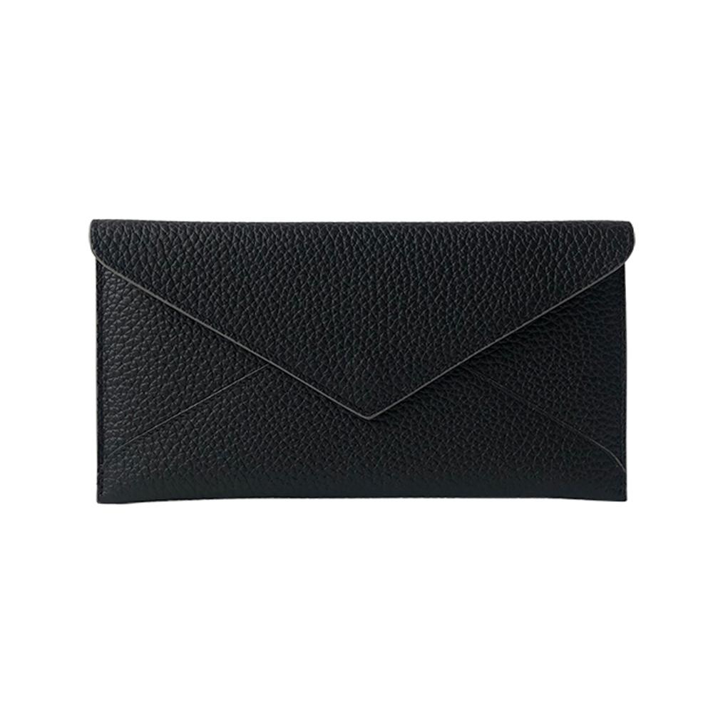 GT3055BK頭層牛皮長款手拿包多功能信封搭扣皮夾/手机包/錢包黑色