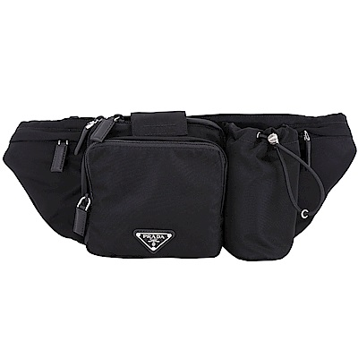 PRADA Tessuto 三角牌多功能尼龍肩胸背/腰包(黑色)