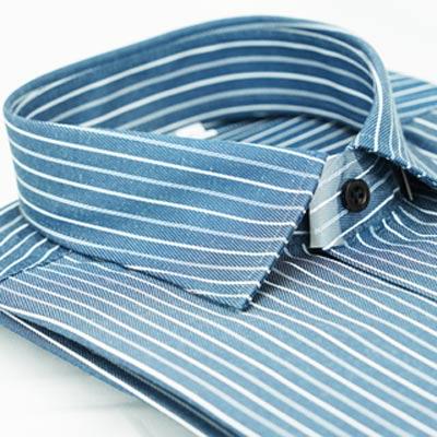金‧安德森 深灰白條紋窄版長袖襯衫fast