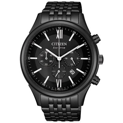 CITIZEN 簡約奢華光能計時男腕錶(CA4415-81E)-鍍黑