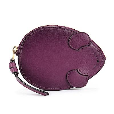 COACH 可愛小老鼠造型皮革零錢/鑰匙包-莓紫色