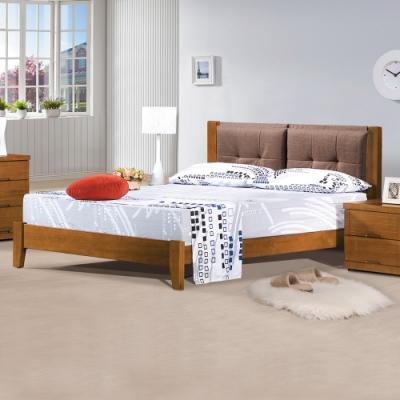 Boden-路斯5尺雙人柚木色全實木床架(不含床墊)