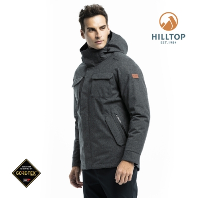 【hilltop山頂鳥】男款GORE-TEX二合一防水羽絨短大衣F22MY9魚子醬黑