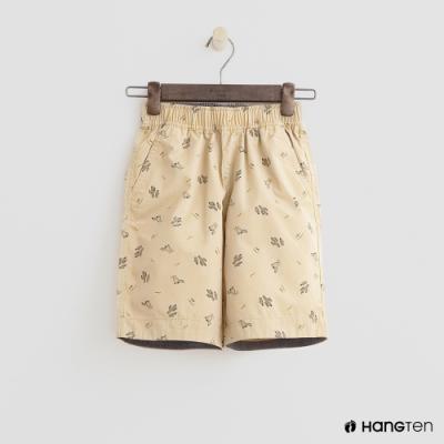 Hang Ten -童裝 - 純色滿版汽車印花短褲 - 卡其