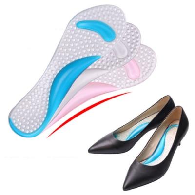 JHS杰恆社abe120口PU雙色七分墊高跟鞋加厚足弓支撐矽膠鞋墊透明女士扁平腳心墊