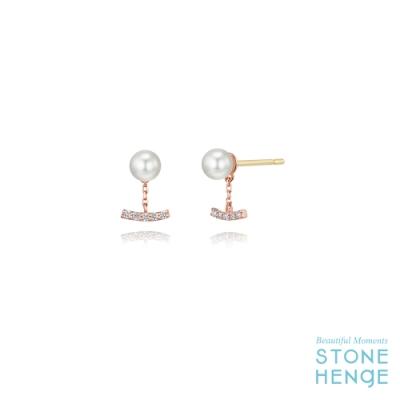 STONEHENGE 斯通亨奇 14K玫瑰金經典優雅水晶珍珠鋯石耳飾