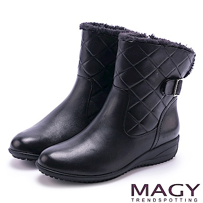 MAGY 經典復古樂活 羊皮側邊縫線厚底短靴-黑色