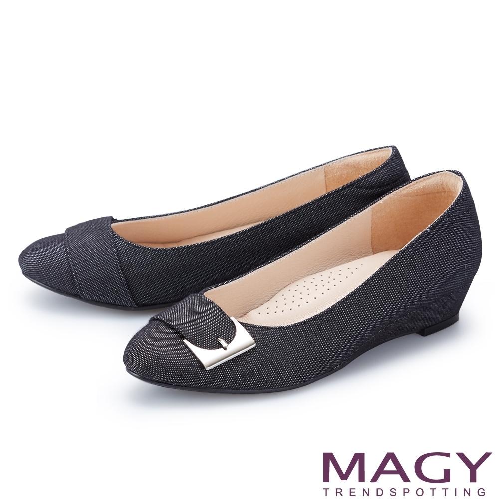[今日限定] MAGY熱銷平底鞋均價1180 (B.金屬扣帶布面楔型低跟鞋-黑色)