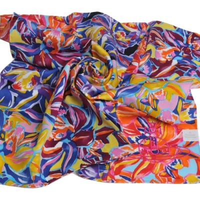 VIVIENNE WESTWOOD 品牌花朵塗鴉圖騰刺繡大行星LOGO大帕領巾(深藍行星)