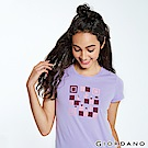 GIORDANO 女裝英文標語印花短袖T恤-12 迷蒙丁香紫