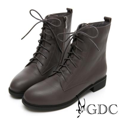 GDC-真皮經典馬丁軍靴款綁帶中筒靴-灰色
