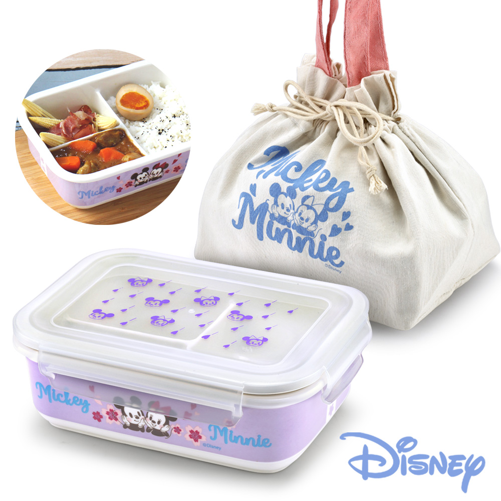 [兩盒一袋]迪士尼Disney 櫻紛米奇陶瓷三格密封便當盒850ml