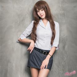 秘書 優雅時尚OL秘書角色扮演服三件組(白+黑F) Lorraine