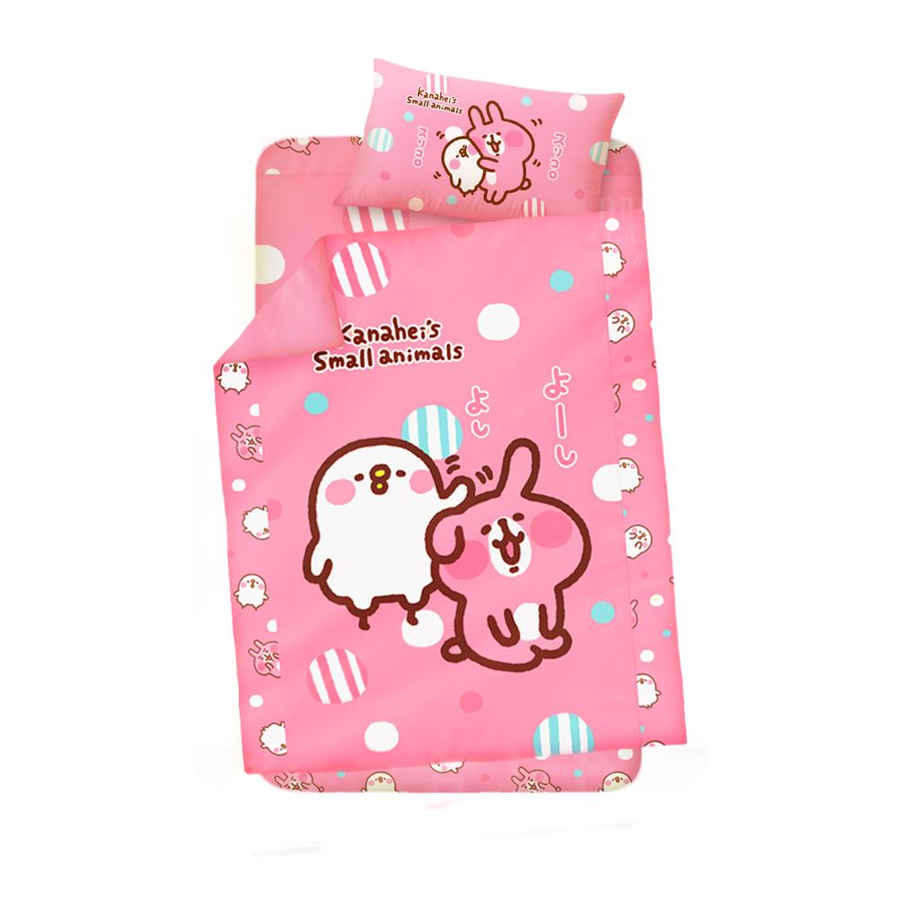 享夢城堡 單人床包涼被三件式組-卡娜赫拉的小動物Kanahei 親親好友-粉.黃