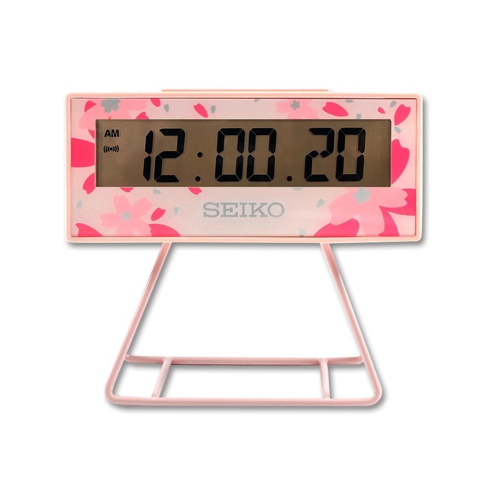 SEIKO 精工 / 日期 計時 貪睡鬧鈴 可拆座架 櫻花 長方形鬧鐘 電子鐘-粉紅色