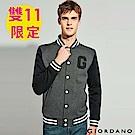 GIORDANO 男裝撞色logo棒球外套-01 深花灰/標誌黑