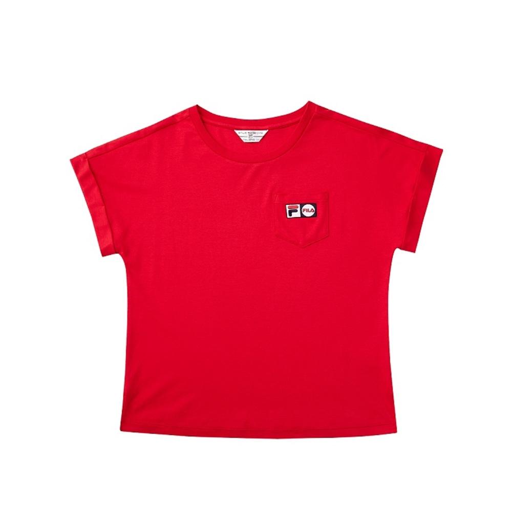 FILA 女短袖圓領T恤-紅色 5TEV-1456-RD