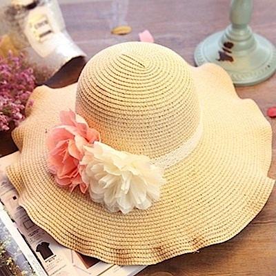米蘭精品 草帽防曬遮陽帽-花朵波浪大簷優雅氣質戶外出遊沙灘女帽子73eq18