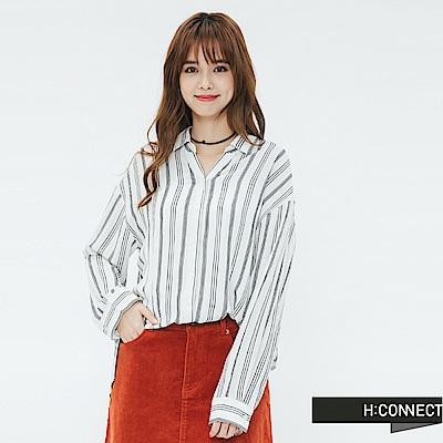 H:CONNECT 韓國品牌 女裝-側開岔條紋配色襯衫-藍