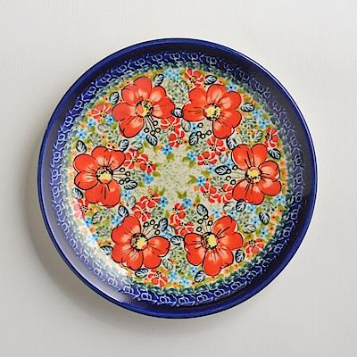 波蘭陶手工製 繽紛紅卉 淺底圓形餐盤19cm