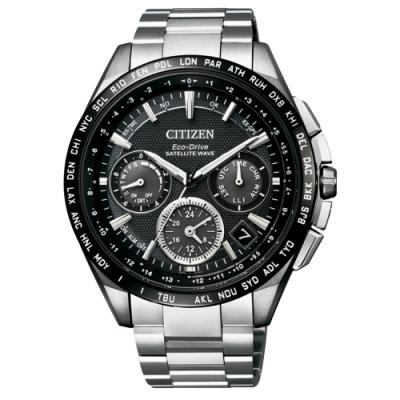 CITIZEN Eco-Drive  宇宙航道衛星對時鈦金屬腕錶-黑框銀