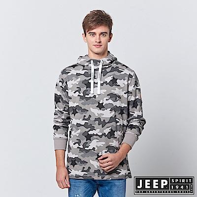 JEEP 時尚經典雪地迷彩長袖連帽TEE-灰色