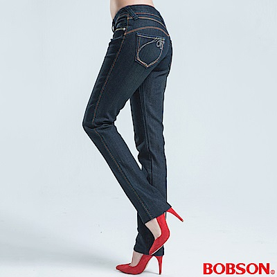 BOBSON 銀色刺繡伸縮小直筒褲-深藍