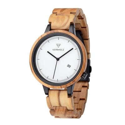 KERBHOLZ 原木手錶-Lamprecht-橄欖木(42mm)