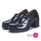 mo.oh-復古粗跟制服鞋高跟樂福鞋-黑