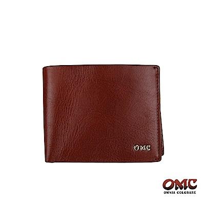 OMC 義大利進口牛皮精工10卡活動式中間翻透明窗零錢短夾-咖啡色