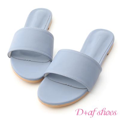 D+AF 亮彩盛夏.一字寬版平底涼拖鞋*藍