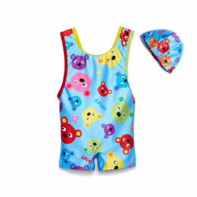 WHY AND 1/2 mini 普普熊連身泳衣-附泳帽 0M~3Y
