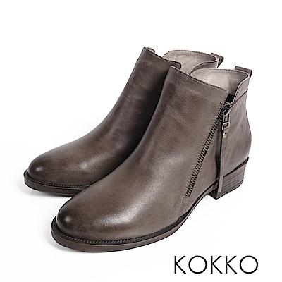 KOKKO-懷舊擦色柔軟綿羊皮短靴-中性灰